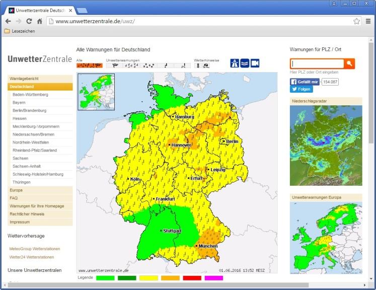 Screenshot 1 - UnwetterZentrale