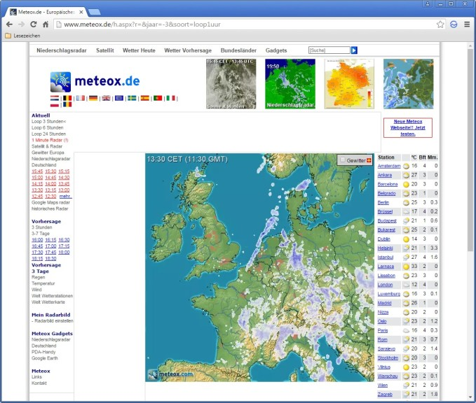 Screenshot 1 - Europäisches Niederschlagsradar