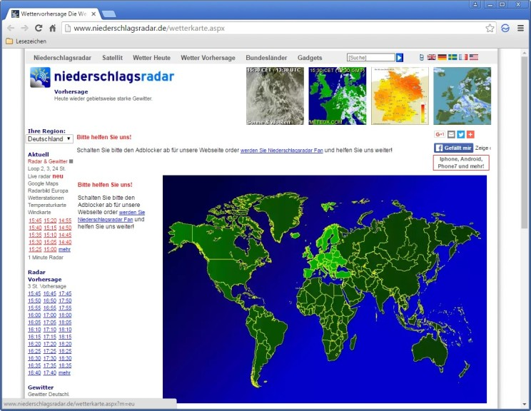 Screenshot 1 - Niederschlagsradar weltweit