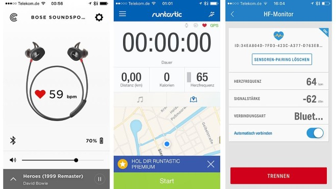 Sport-Kopfhörer Bose SoundSport Pulse im Test Die Bose Connect App (links im Bild, iOS und Android) zeigt die Herzfrequenz an, auch Apps wie Runtastic (Mitte) und MapMyRun (rechts) können die Pulsdaten vom Kopfhörer auslesen.©COMPUTER BILD
