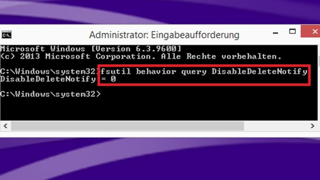 Windows 7/8/10: SSD kontrollieren – prüfen, ob TRIM aktiviert ist Klopfen Sie per Kommandozeile das System daraufhin ab, ob es sich korrekt verhält.©COMPUTER BILD