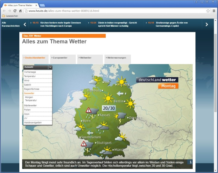 Screenshot 1 - ZDF heute: Wetter