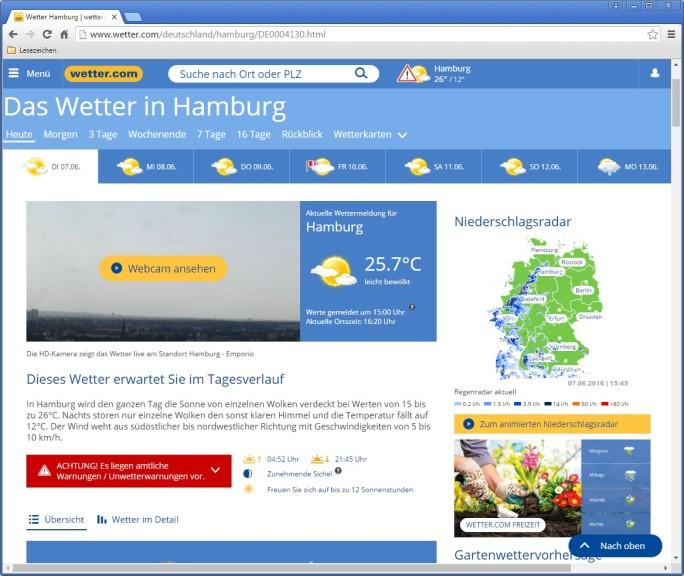 Screenshot 1 - Wetter.com