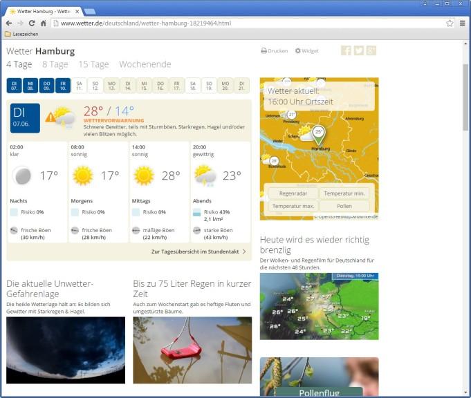 Screenshot 1 - Wetter.de