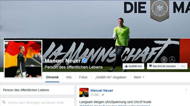 Manuel Neuer bei Facebook © Screenshot: Facebook.com
