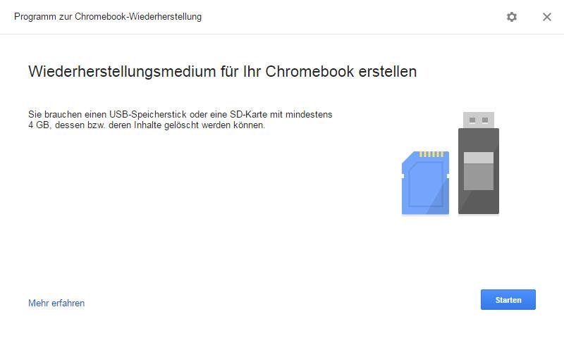Screenshot 1 - Chromebook Recovery Utility (Chromebook-Wiederherstellung für Chrome)