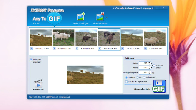 GIFs erstellen: So erzeugen Sie animierte GIF-Dateien unter Windows Any To GIF ist simpel gestrickt und bringt brauchbare Ergebnisse hervor.©COMPUTER BILD
