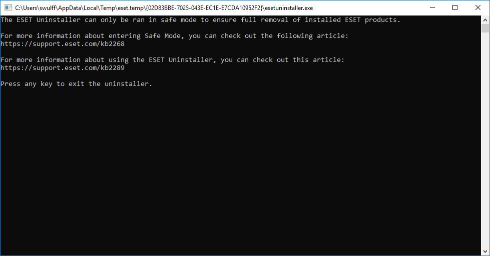 Screenshot 1 - ESET Uninstaller