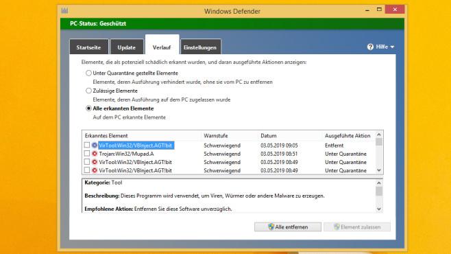 Windows 8: Dateien per Defender scannen – via Kontextmenü Der Defender leitet den Löschvorgang ein, wenn er etwas Schadhaftes ausfindig macht.©COMPUTER BILD