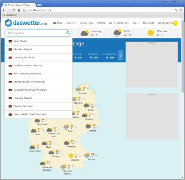Screenshot 1 - Das Wetter - 14 Tage Wettervorhersage