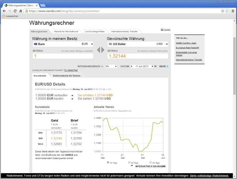 Screenshot 1 - Oanda-Währungsrechner