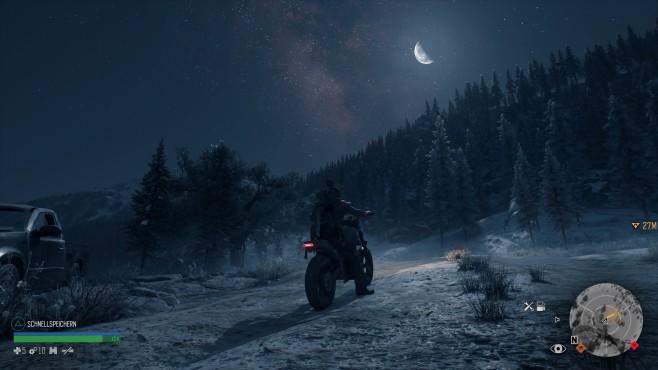 Days Gone: Das Ende aller Tage Des Bikers Bike ... Nächte sehen zwar romantisch aus, sind aber oft gefährlicher. Manchmal sollten Sie sich dann einfach auf einer Pritsche ausruhen und bis zum nächsten Morgen schlafen.©Sony