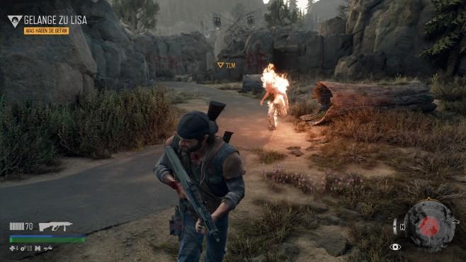 Days Gone: Das Ende aller Tage Hitzige Gefechte: Manche Gegner zünden sich an und laufen brennden auf Sie zu.©Sony