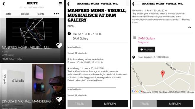 Ask Helmut: Kuratierte Veranstaltungstipps per App Die App bietet ein modernes Design und ein sehr ansprechende Aufbereitung der Veranstaltungen.©Screenshot: Ask Helmut App / COMPUTER BILD