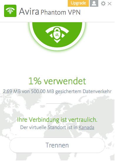 Screenshot 1 - Avira Phantom VPN (Mac)