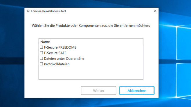 F-Secure Uninstallation Tool ©COMPUTER BILD