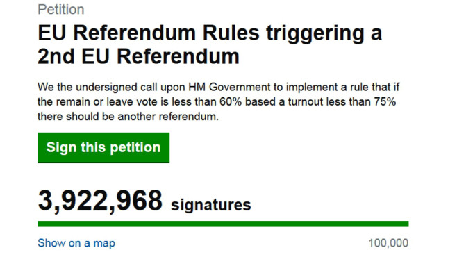 Brexit-Petition © Screenshot: https://petition.parliament.uk/petitions/131215