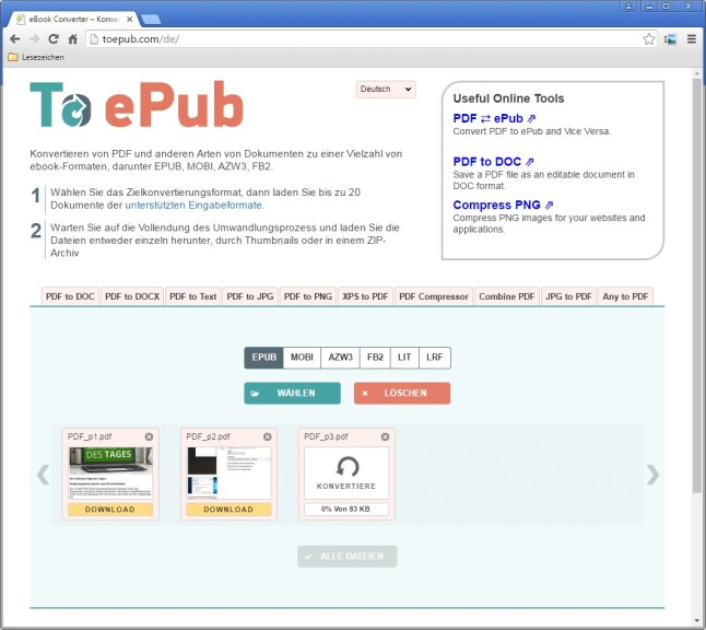 Screenshot 1 - PDF to ePub (eBook Converter)