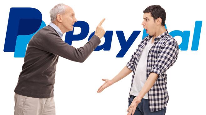 Streitende Männer vor Paypal-Logo©Paypal, ©istock.com/Ljupco