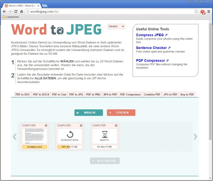 Screenshot 1 - Word to JPEG (Worddateien in JPEG-Bilder umwandeln)