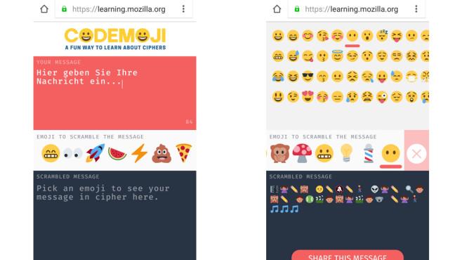 Codemoji Webseite©Screenshots: https://learning.mozilla.org/codemoji/#/encrypt