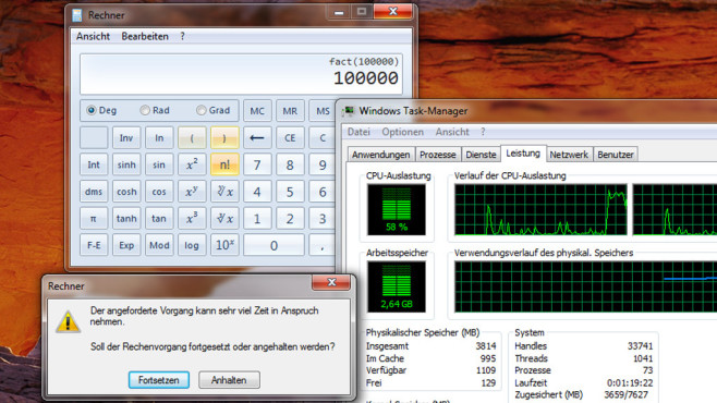 CPU unter Last setzen per Taschenrechner ©COMPUTER BILD