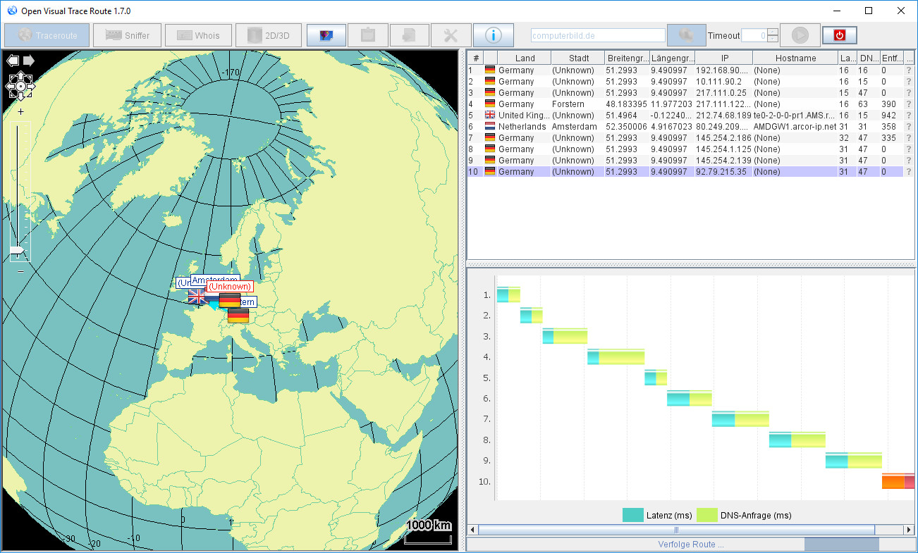Screenshot 1 - Open Visual Traceroute
