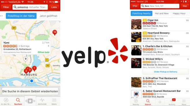 Yelp zeigt Pokestops©yelp