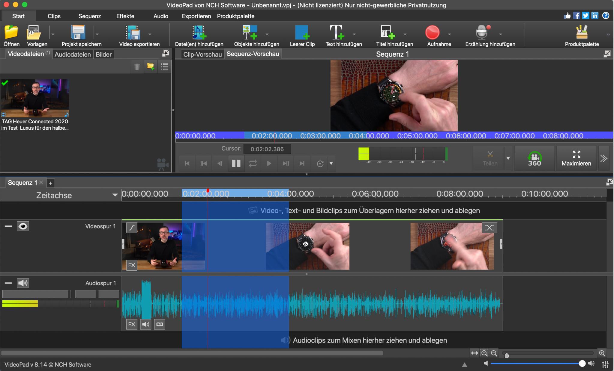 Screenshot 1 - VideoPad Video-Editor (Mac)