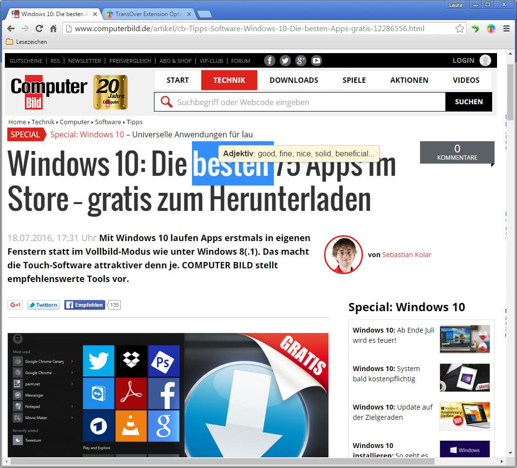 Screenshot 1 - TransOver für Chrome