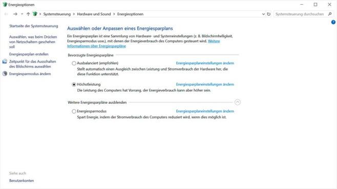 Windows 10: Energiesparplan ändern©COMPUTER BILD SPIELE, Microsoft