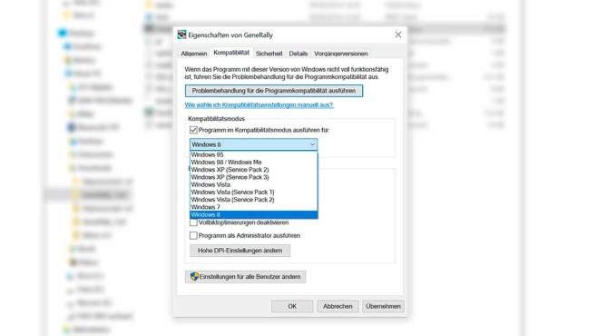 Windows 10: Kompatibilitätsmodus©COMPUTER BILD SPIELE, Microsoft