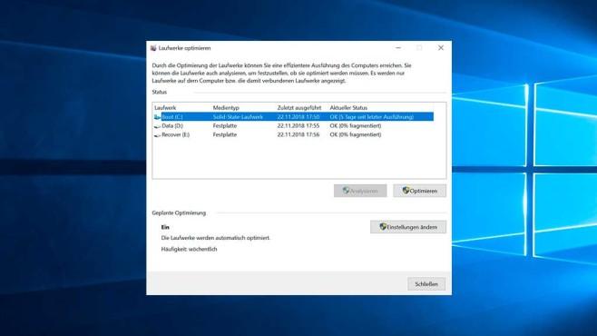 Windows 10: Laufwerke optimieren©COMPUTER BILD SPIELE, Microsoft