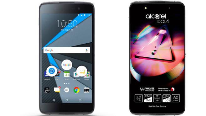 Alcatel Idol 4: Zwilling vom Blackberry DTEK50 im Praxis-Test Kurios: Optisch und technisch basiert das neue Blackberry DTEK50 (links) nahezu vollständig auf dem von China-Hersteller TCL gefertigten Alcatel Idol 4 (rechts), dem kleineren Bruder des Idol 4S.©Alcatel, Blackberry