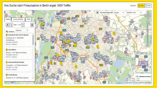 Gelbe Seiten Karte©Gelbe Seiten