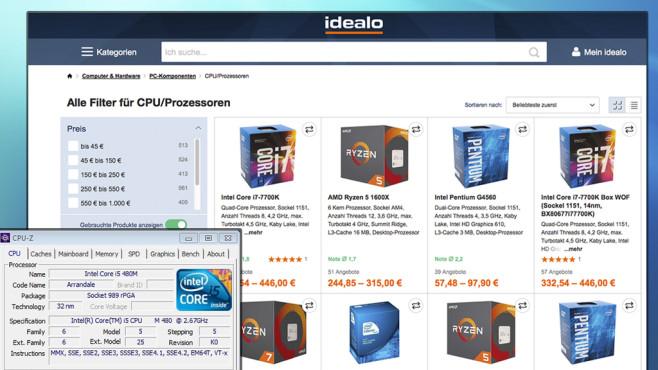 CPU-Z und idealo-Filter©COMPUTER BILD