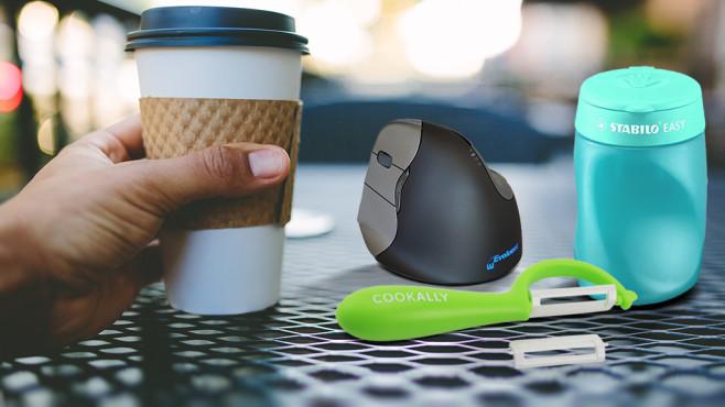 Gadgets für Linkshänder©Stabilo, Evoluent, COOKALLY, David Hartwell/ getty images