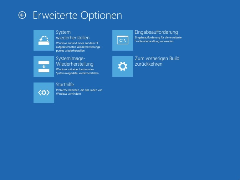 Screenshot 1 - Systemreparaturdatenträger (Windows 10, 32 Bit, BIOS)