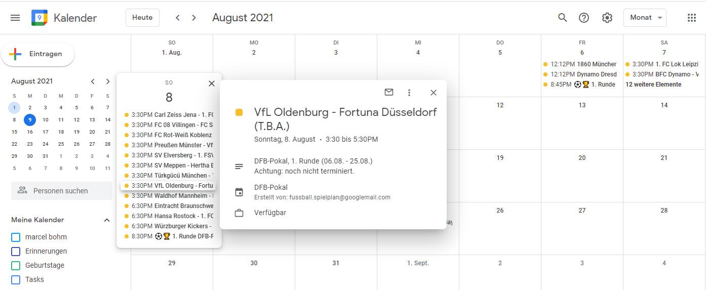 Screenshot 1 - DFB-Pokal 2021/2022: Spielplan für Outlook, Google Calendar, iPhone & Android