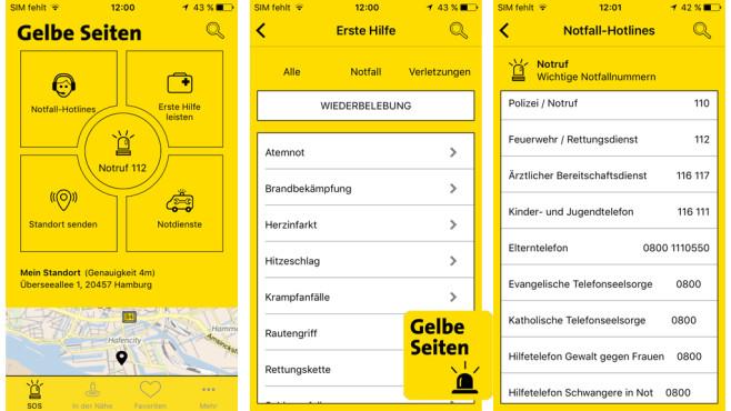 Gelbe Seiten Notfall-App ©Gelbe Seiten