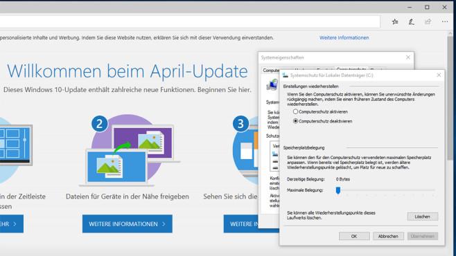Systemwiederherstellung im April Update©Microsoft
