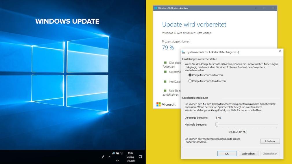 Systemwiederherstellung nach Update einschalten