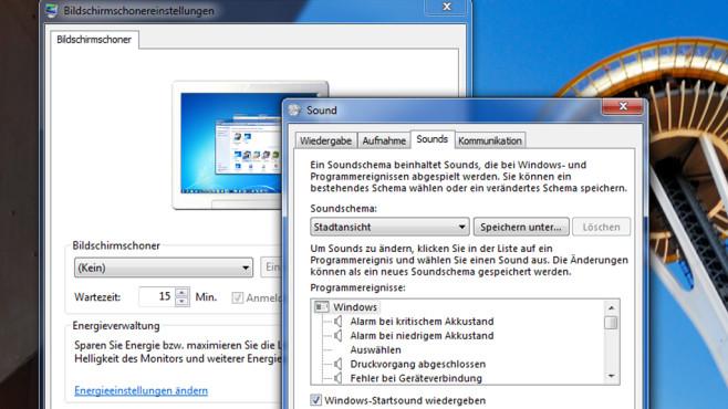 Bildschirmschoner und Hochfahr-Sound – Windows 7 ©COMPUTER BILD