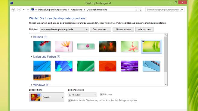Desktop-Hintergründe und Wechsel-Intervalle – Windows 8 ©COMPUTER BILD