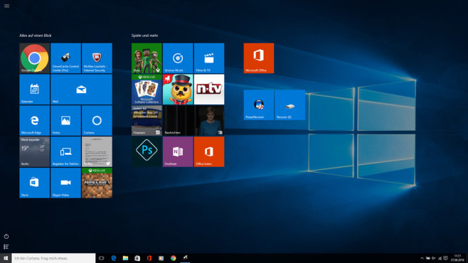 Startmenü – Windows 10 ©COMPUTER BILD