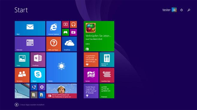 Startmenü – Windows 8 ©COMPUTER BILD