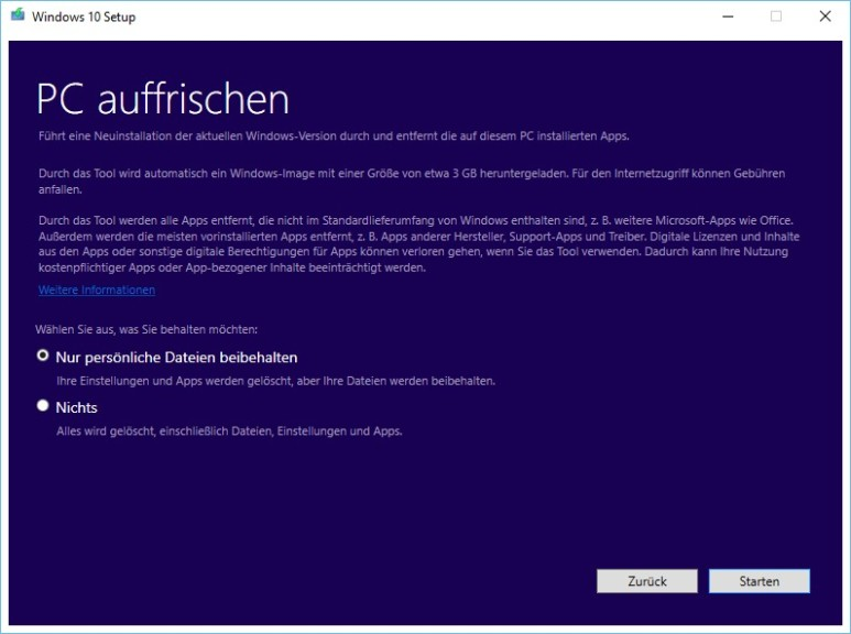 Screenshot 1 - Windows 10 Refresh Tool (Clean Install)