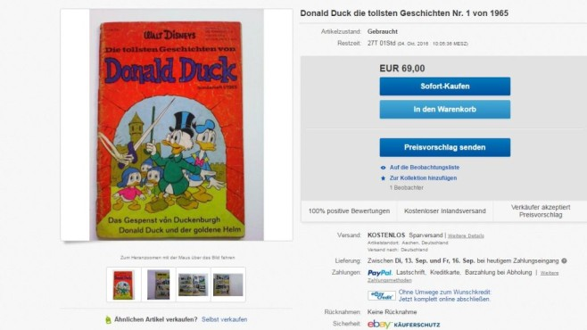 Altes Donald Duck-Comic © Ebay