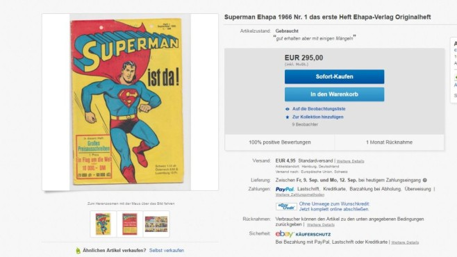 Altes Superman-Cover © Ebay