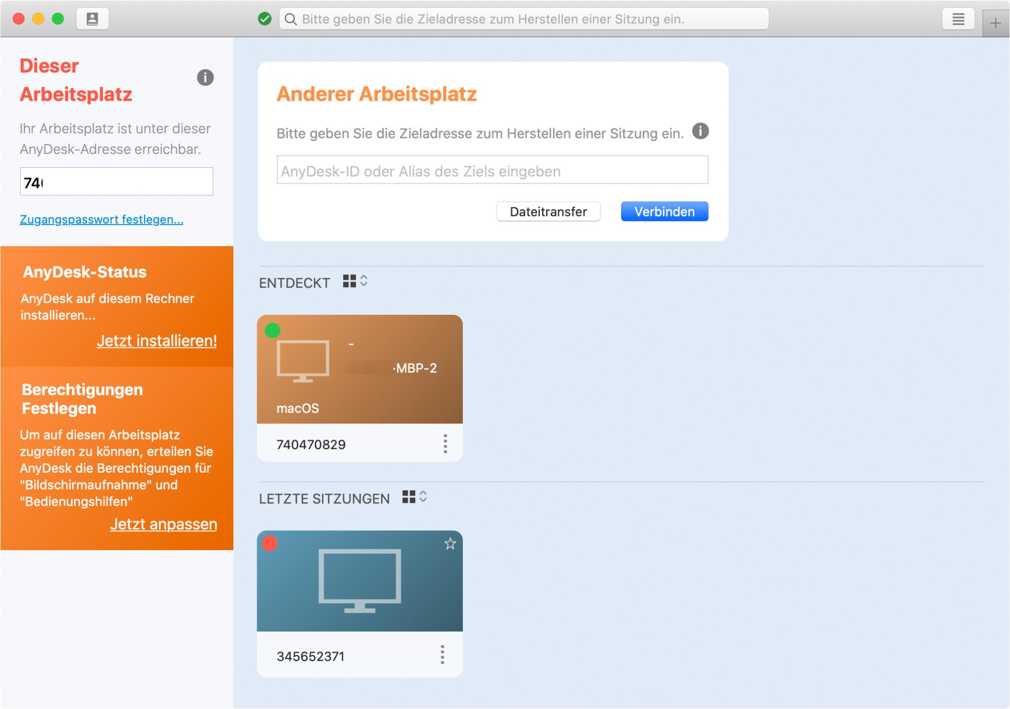 Screenshot 1 - AnyDesk (Mac)
